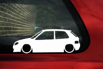 2x Lowered car outline stickers - for Citroën Saxo VTR VTi (Phase 2 , facelift)